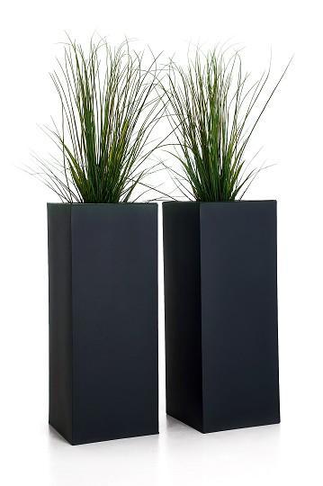 2er-Set-Zink-Blumenkuebel-Pflanzkuebel-Pflanzgefaesse-Block-Design-100cm-anthrazit