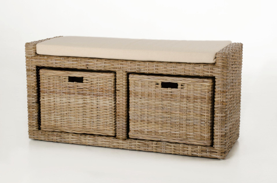 vivanno sitzbank lorante mit kissen aus rattan 105cm koobo grey ebay. Black Bedroom Furniture Sets. Home Design Ideas