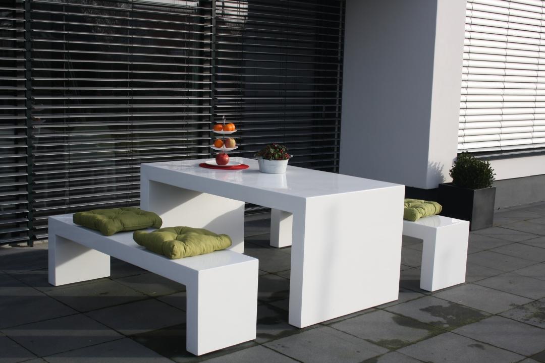 MODERNA 160 Betonmöbel Gartenmöbel 3er Set Sitzgruppe Faserbeton  => Gartenmobel In Weiss