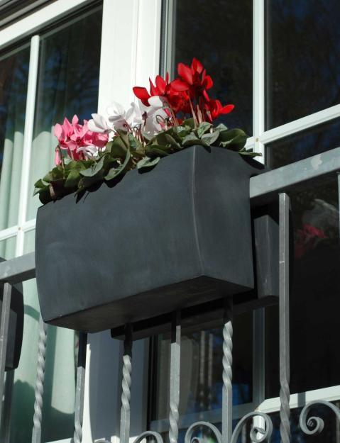 balkonkasten fiberglas balkona linea 40cm anthrazit ebay. Black Bedroom Furniture Sets. Home Design Ideas