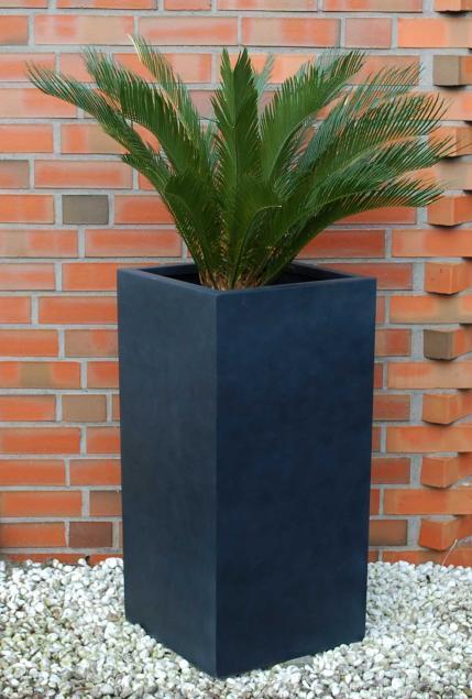 blumenk bel pflanzk bel pflanzgef e aus fiberglas block anthrazit 100cm hoch ebay. Black Bedroom Furniture Sets. Home Design Ideas