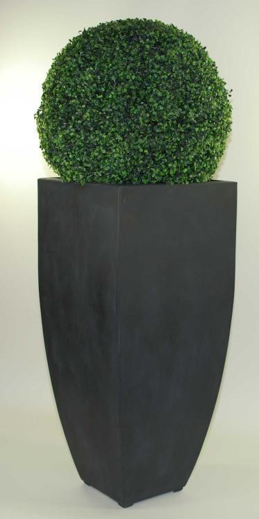 Blumenkuebel-Pflanzkuebel-Pflanzgefaesse-Fiberglas-Cubic-Anthrazit-90cm