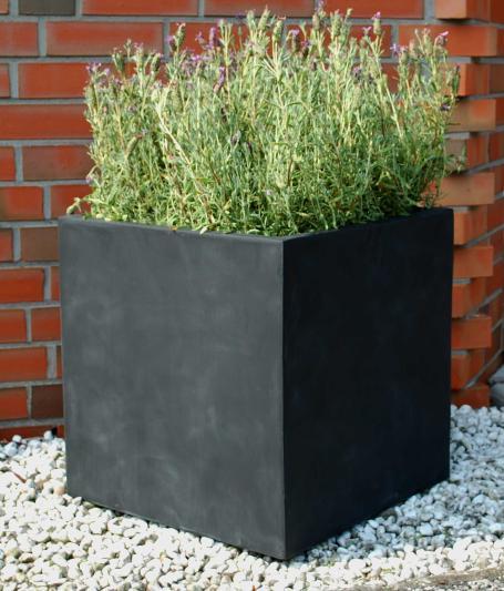 Blumenkuebel-Pflanzkuebel-Pflanzgefaesse-aus-Fiberglas-Block-Anthrazit-50x50x50cm