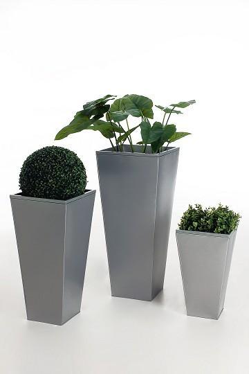 3er set zink blumenk bel pflanzk bel pflanzgef e new advance design silber ebay. Black Bedroom Furniture Sets. Home Design Ideas