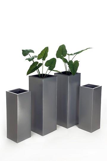 4er-Set-Zink-Blumenkuebel-Pflanzkuebel-Pflanzgefaesse-Block-Design-80-65-Silber