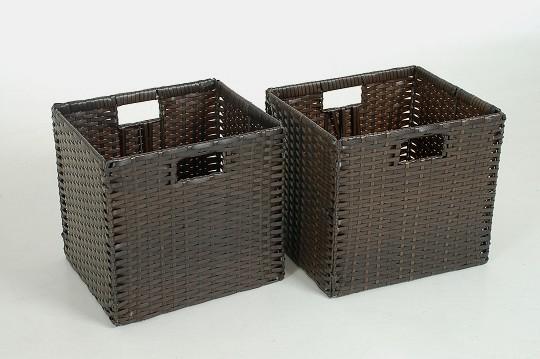 2 vivanno regalk rbe schrankkorb polyrattan ikea expedit bonde braun ebay. Black Bedroom Furniture Sets. Home Design Ideas