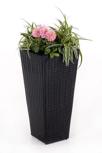 Blumenkuebel-Pflanzkuebel-Polyrattan-Classic-60cm-schwarz