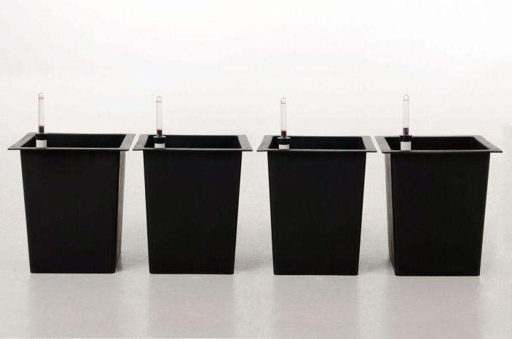 4er set blumenk beleinsatz 29x29x32 cm mit bew sserungsset. Black Bedroom Furniture Sets. Home Design Ideas