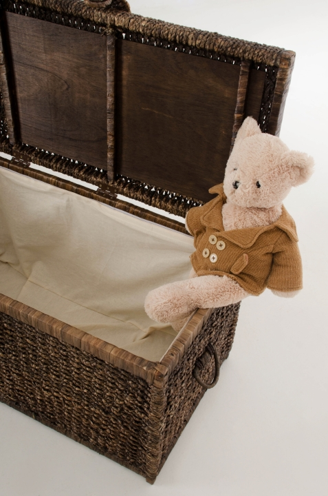 vivanno truhe w schetruhe aus wasserhyazinthe 39 lea 39 84cm braun ebay. Black Bedroom Furniture Sets. Home Design Ideas