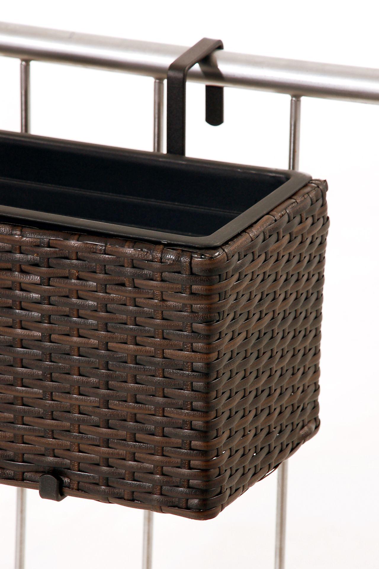 blumenkasten pflanzkasten 39 balkoni 39 polyrattan 80cm bicolor braun bew sserungset ebay. Black Bedroom Furniture Sets. Home Design Ideas