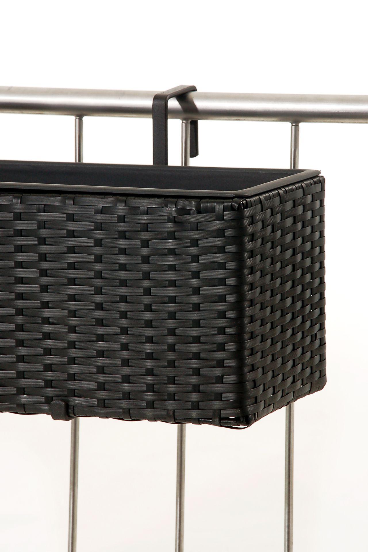 blumenkasten balkonkasten balkoni polyrattan 80 cm schwarz mit bew sserungsset ebay. Black Bedroom Furniture Sets. Home Design Ideas
