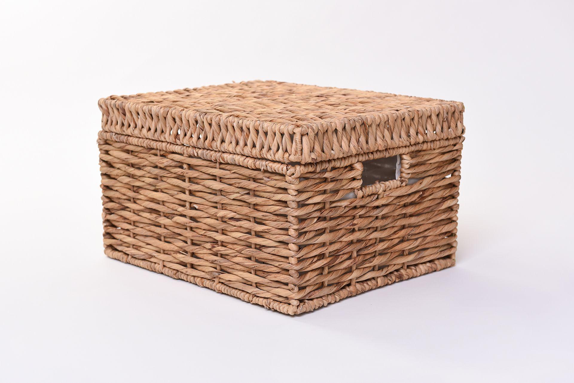 vivanno korb mit deckel kira aus wasserhyazinthe 41 cm natur ae trade online. Black Bedroom Furniture Sets. Home Design Ideas