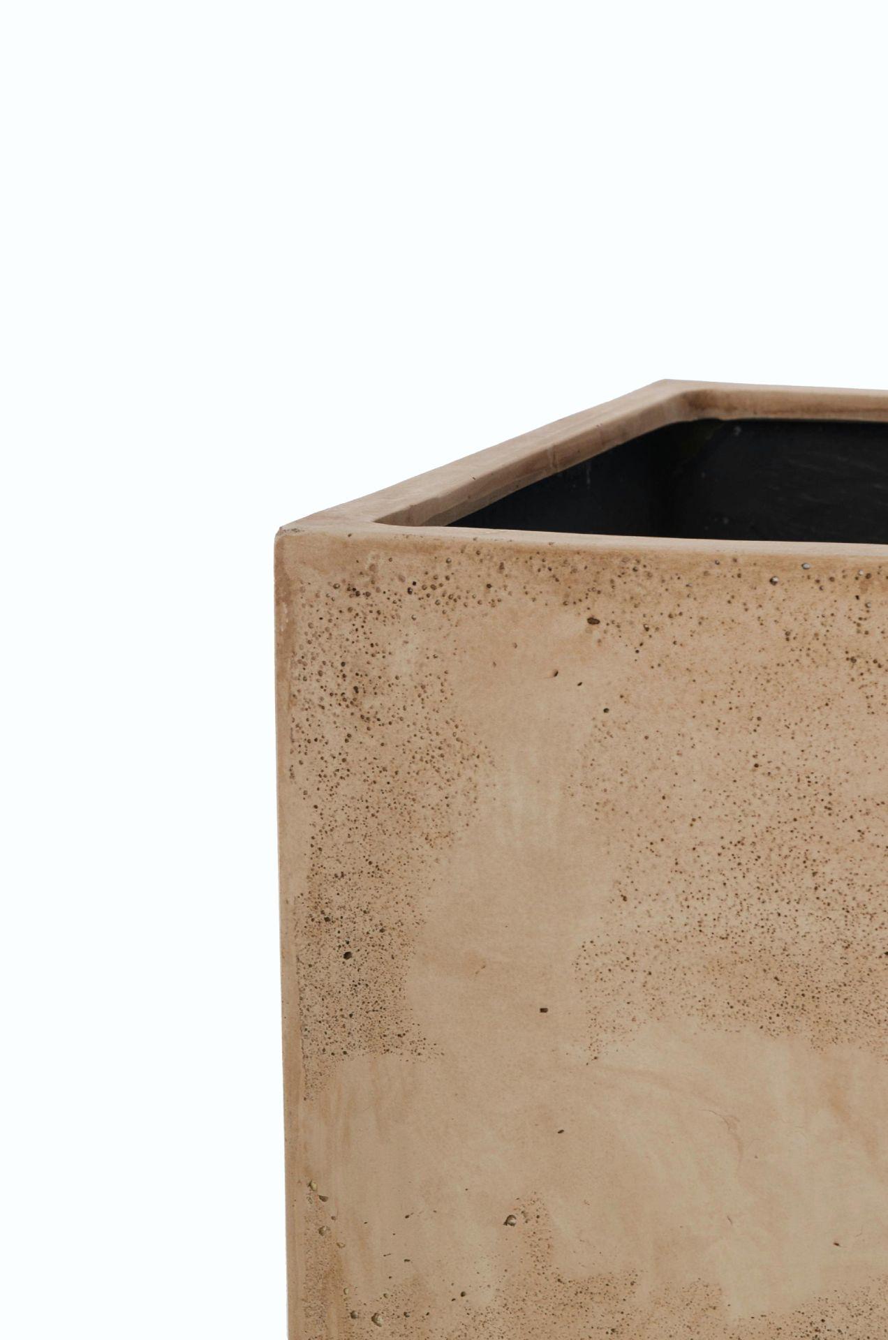 pflanzk bel blumenk bel block 50 50 fiberglas beton design beige ebay. Black Bedroom Furniture Sets. Home Design Ideas