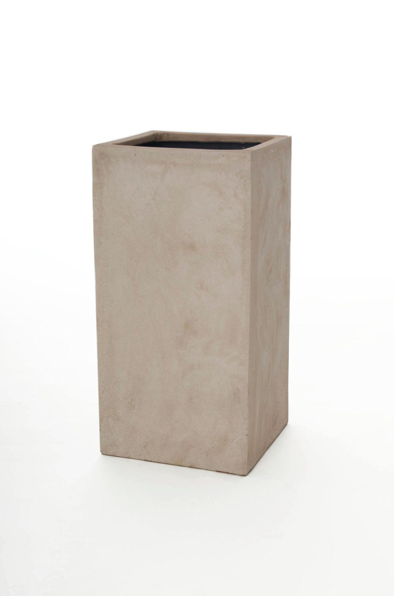 pflanzk bel blumenk bel pflanzs ule block 60 cm fiberglas beton design beige ebay. Black Bedroom Furniture Sets. Home Design Ideas