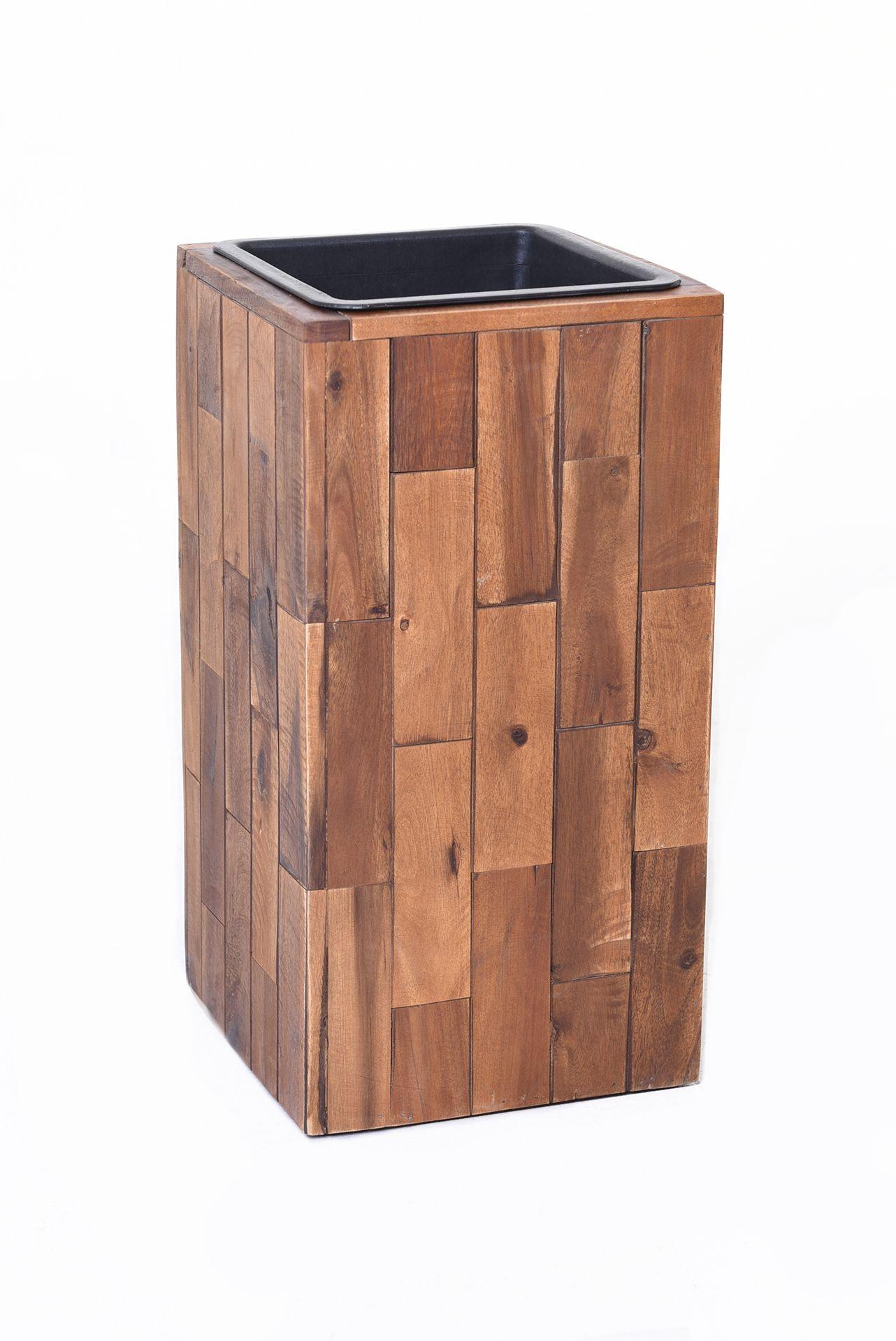 pflanzk bel blumenk bel block s ule aus holz akazie 45 cm hoch braun. Black Bedroom Furniture Sets. Home Design Ideas